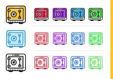 Icone lineari uniche che RISPARMIANO SOLDI di finanza, contare Moderno fuori Fotografie Stock