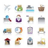 Icone logistiche e di trasporto del carico, Fotografia Stock
