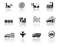 Icone logistiche stabilite con la siluetta di riflessione di specchio Fotografia Stock