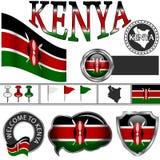 Icone lucide con la bandiera del Kenya Fotografia Stock Libera da Diritti
