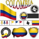 Icone lucide con la bandiera della Colombia Fotografia Stock Libera da Diritti