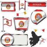 Icone lucide con la bandiera di Bergen, Norvegia royalty illustrazione gratis