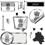 Icone lucide con la bandiera di Delhi, India immagini stock libere da diritti