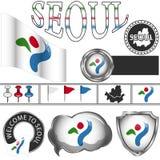 Icone lucide con la bandiera di Seoul Fotografia Stock