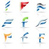 Icone lucide per la lettera F Immagine Stock