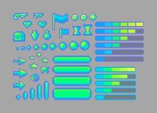 Icone luminose di arte del pixel Fotografia Stock