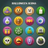Icone luminose rotonde con ombra lunga: Halloween Fotografia Stock
