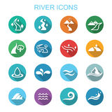 Icone lunghe dell'ombra del fiume Fotografie Stock