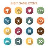 icone lunghe dell'ombra del gioco di 8 bit Fotografia Stock