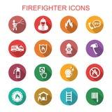 Icone lunghe dell'ombra del pompiere Immagine Stock Libera da Diritti