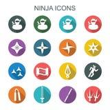Icone lunghe dell'ombra di Ninja Fotografia Stock Libera da Diritti