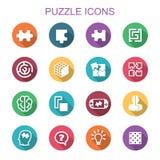 Icone lunghe dell'ombra di puzzle Fotografia Stock