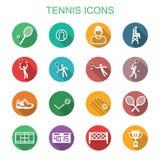 Icone lunghe dell'ombra di tennis Fotografia Stock Libera da Diritti