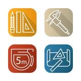 Icone lunghe pianamente lineari dell'ombra degli strumenti di ingegneria messe Calibro, matita e righello, nastro di misurazione, Fotografia Stock Libera da Diritti