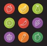 Icone lunghe pianamente lineari dell'ombra del deposito delle verdure e della frutta messe royalty illustrazione gratis