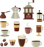 Icone/marchio del caffè fissato - 3 Fotografia Stock Libera da Diritti
