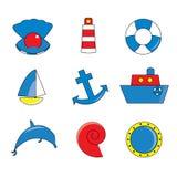 Icone marine. Illustrazione di Stock
