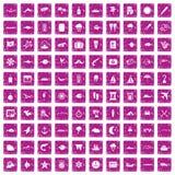 100 icone marine dell'ambiente hanno fissato il rosa di lerciume Fotografia Stock