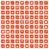 100 icone marine dell'ambiente hanno messo il lerciume arancio Immagini Stock