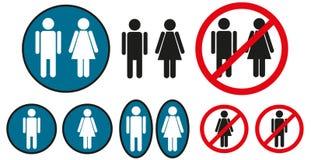 Icone maschii e femminili Fotografia Stock