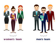 Icone maschii e femminili della gente Raccolta piana delle icone della gente Insieme della gente di affari isolata su fondo bianc Fotografie Stock