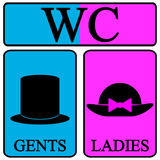 Icone maschii e femminili di simbolo della toilette Fotografie Stock Libere da Diritti