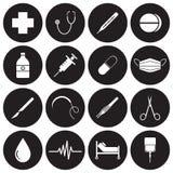 Icone mediche bianche sui cerchi neri Illustrazione Vettoriale