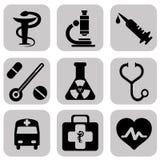 Icone mediche con fondo bianco Immagini Stock