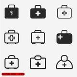 Icone mediche del segno di caso messe Immagini Stock