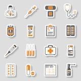 Icone mediche dell'autoadesivo messe Fotografia Stock