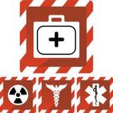 Icone mediche di allerta rossa Fotografia Stock