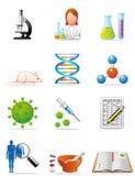 Icone mediche di ricerca Fotografia Stock