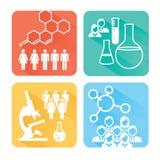 Icone mediche di sanità con la gente che traccia una carta della malattia o della scoperta scientifica Immagine Stock Libera da Diritti