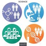 Icone mediche di sanità con la gente che traccia una carta della malattia o della scoperta scientifica Fotografia Stock Libera da Diritti