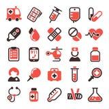 Icone mediche di vettore di salute Fotografie Stock Libere da Diritti
