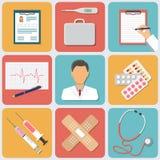 Icone mediche di vettore impostate Progettazione piana Immagini Stock