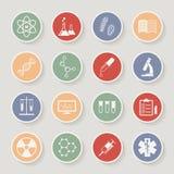 Icone mediche e di istruzione rotonde di scienza, Vettore Fotografia Stock