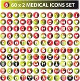 icone mediche lucide 60x2 Fotografie Stock