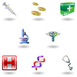 Icone mediche lucide Immagine Stock