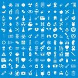 Icone mediche messe, insieme di vettore dei segni della medicina e medici Fotografia Stock Libera da Diritti