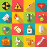 Icone mediche messe, stile piano degli oggetti Immagini Stock Libere da Diritti
