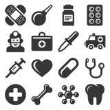 Icone mediche messe su fondo bianco Vettore Fotografia Stock Libera da Diritti