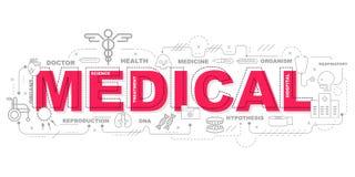 Icone mediche per progettazione grafica dell'illustrazione di istruzione Fotografia Stock Libera da Diritti