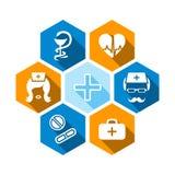 Icone mediche piane con ombra Fotografia Stock