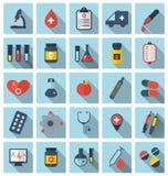 Icone mediche piane d'avanguardia della raccolta con ombra lunga Immagini Stock