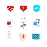 Icone mediche piane di web di vettore: sangue di morte di vita del paziente ricoverato Fotografia Stock