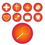 Icone mediche rosse Fotografia Stock Libera da Diritti