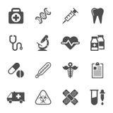 Icone mediche su fondo bianco Vettore Fotografia Stock