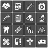 Icone mediche su fondo nero Vettore Immagine Stock Libera da Diritti
