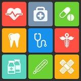 Icone mediche variopinte per il web ed il cellulare Vettore Immagini Stock Libere da Diritti